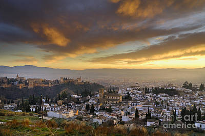 The Alhambra Granada And Albaicin At Sunset Poster