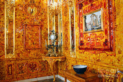 The Amber Room At Catherine Palace Poster by Catherine Sherman