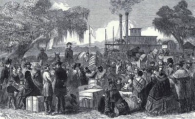 The American Civil War Arrival Of A Federal Steamer Poster by American School