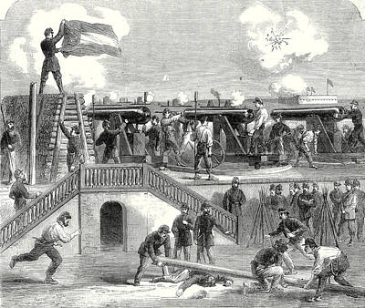 The American Civil War Scene At Fort Moultrie Poster by American School