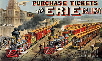 The American Railway Scene  Poster by Currier and Ives