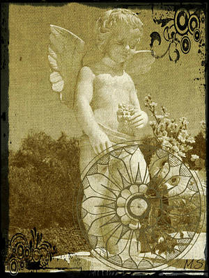 Poster featuring the digital art The Angel - Art Nouveau by Absinthe Art By Michelle LeAnn Scott