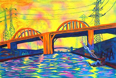 The Angel Of Sixth Street Bridge Poster by Sean Boyce