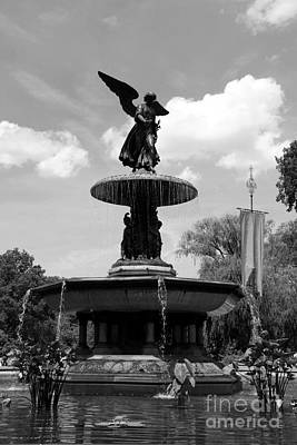 The Angel Of Waters B W - Central Park  Nyc Poster by Christiane Schulze Art And Photography