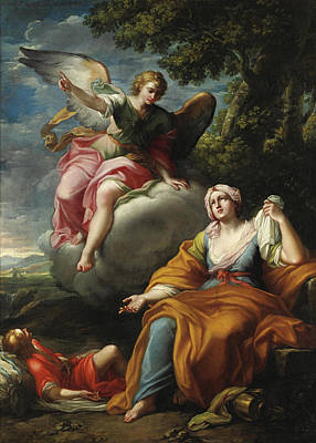 The Angel With Hagar And Ishmael Poster by Placido Costanzi