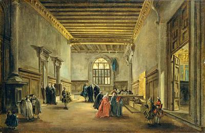 The Antechamber Of The Sala Del Maggior Consiglio Poster by Francesco Guardi