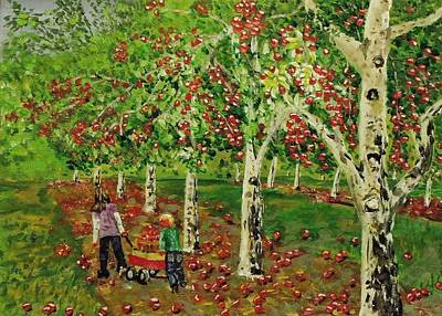 The Apple Pickers Poster by Mike Caitham