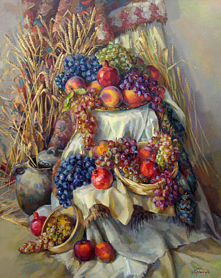 The Armenian Still Life With A Grapes And Pomegranates Poster