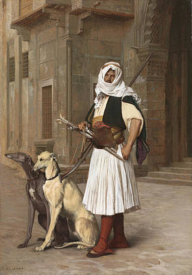 The Arnaut With Two Whippets Poster by Jean-Leon Gerome