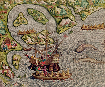 The Arrival And Disembarkation On The American Coast, From Americae Tertia Pars, 1592  Poster by Theodore de Bry