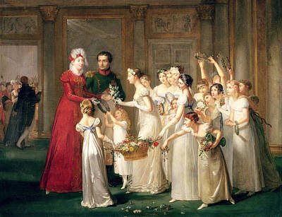The Arrival Of Marie-louise De Habsbourg-lorraine 1791-1847 In The Gallery Of The Chateau De Poster by Pauline Auzou