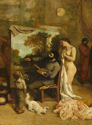 The Artists Studio, A Real Allegory, Detail Of The Painter And His Model, 1854-55 Oil On Canvas Poster by Gustave Courbet