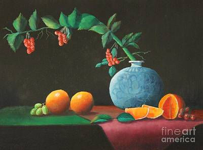 The Asian Vase And Oranges Poster