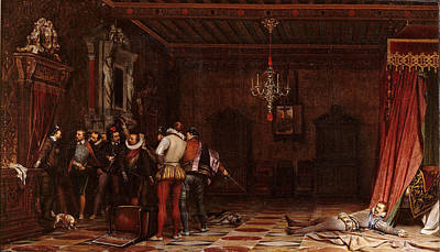 The Assassination Of The Duke Of Guise In Chateau De Blois Poster by Paul Delaroche
