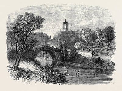 The Auld Brig Of Doon With Burns Monument And A Glimpse Poster by English School