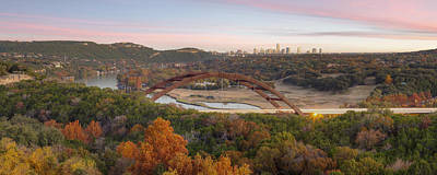 The Austin Skyline And 360 Bridge Pano Image Poster