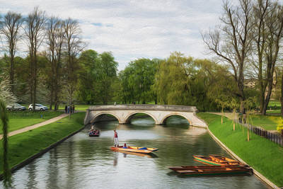 The Avenue Bridge Over River Cam In Front Of Trinity College Cambridge Digital Painting Poster by Matthew Gibson