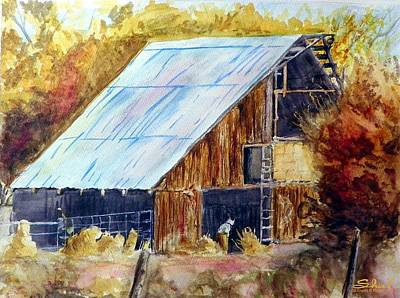 Poster featuring the painting The Barn Mouser by Sherril Porter