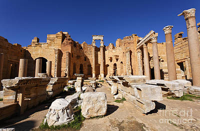 The Basilica Of Severus At Leptis Magna In Libya Poster by Robert Preston