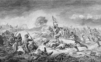 The Battle Of The Crater, Engraved By Ernst Heinemann 1848-1912, Illustration From Battles Poster by John Adams Elder