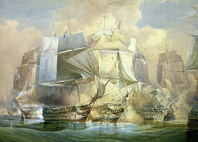The Battle Of Trafalgar Poster by William John Huggins