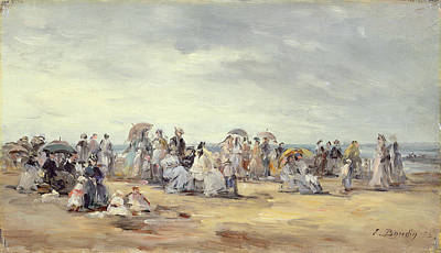 The Beach At Trouville, 1873 Poster by Eugene Louis Boudin