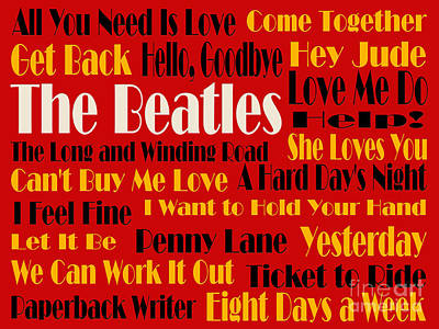 The Beatles 20 Classic Rock Songs 2 Poster by Andee Design