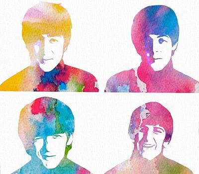 The Beatles Watercolor Collage Poster
