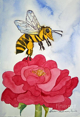 Poster featuring the painting The Bee And The Rose by Shirin Shahram Badie
