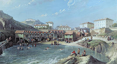 The Beginning Of Sea Swimming In The Old Port Of Biarritz  Poster by Jean Jacques Alban de Lesgallery