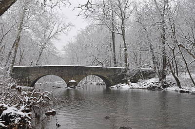 The Bells Mill Road Bridge In Winter Poster by Bill Cannon