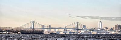 The Ben Franklin Bridge From Penn Treaty Park Poster by Bill Cannon