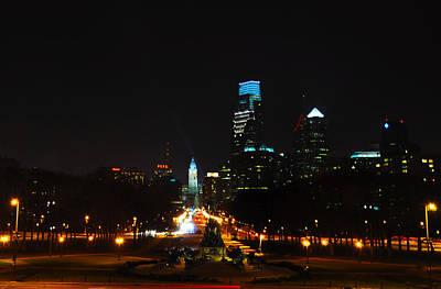 The Benjamin Franklin Parkway At Night Poster