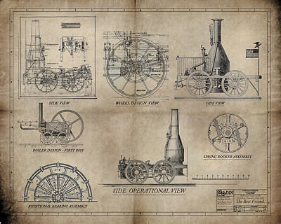 The Best Friend Locomotive Machine Poster by James Christopher Hill
