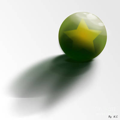 Green Ball Decorated With Star White Background Poster by R Muirhead Art
