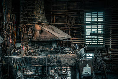 Poster featuring the photograph The Blacksmith's Forge - Industrial by Gary Heller