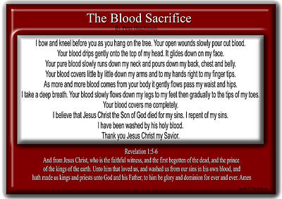 The Blood Sacrifice Poster by Bible Verse Pictures