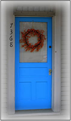 The Blue Door With Bittersweet Wreath Poster by Kathy Barney