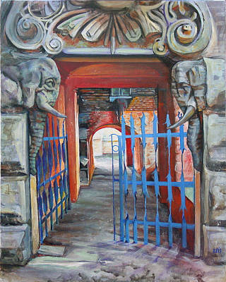 Poster featuring the painting The Blue Gate by Marina Gnetetsky