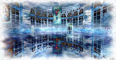 Poster featuring the digital art The Blue Room by Susanne Baumann