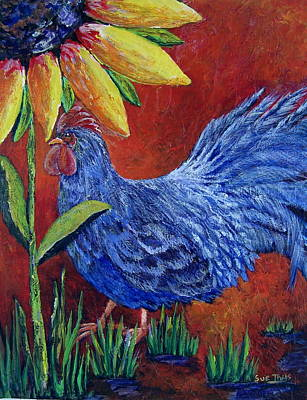 Poster featuring the painting The Blue Rooster by Suzanne Theis