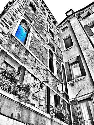 The Blue Window In Venice - Italy Poster by Marianna Mills