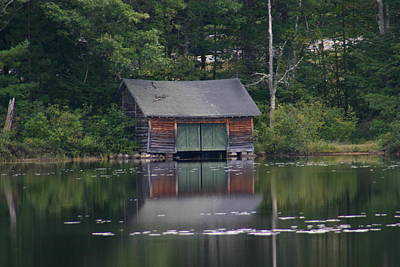 Poster featuring the photograph The Boat House On Mt Chocorua Lake by Denyse Duhaime