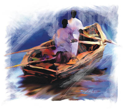 Poster featuring the painting The  Boatmen by Bob Salo