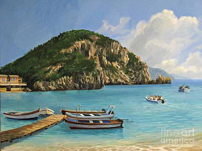 The Boats Of Paleokastritsa Poster by Kiril Stanchev