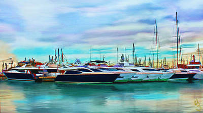 Poster featuring the painting The Boats Of Malaga Spain by Deborah Boyd