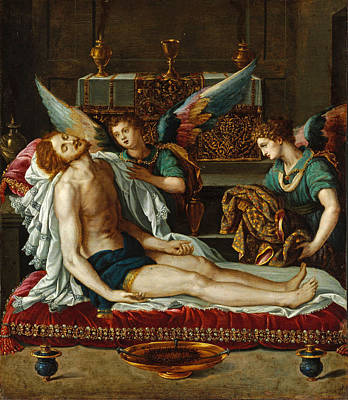 The Body Of Christ Anointed By Two Angels Poster by Alessandro Allori