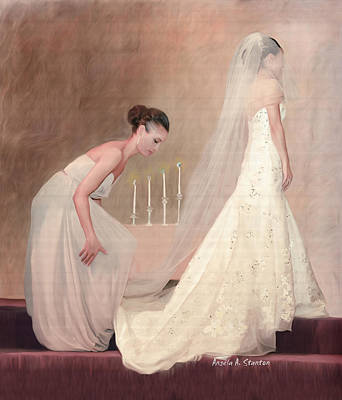 The Bride And Her Maid Of Honor Poster by Angela A Stanton