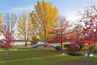 The Bridge In Autumn Poster