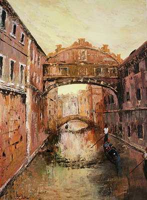 The Bridge Of Sighs Venice Italy Poster by Jean Walker
